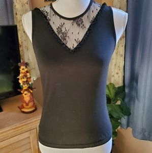 The Limited Stretch Black Tank with Black Lace